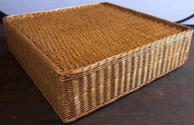 Midcentury Triangular Wicker/Rattan Armchair and Ottoman For Sale 4