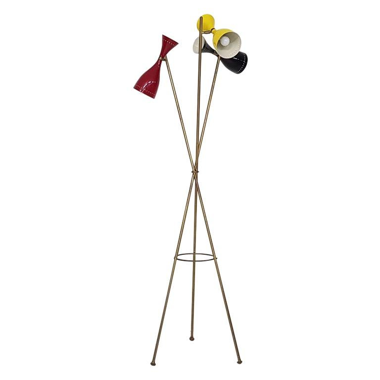 "Midcentury ""Triennale"" by Arredoluce Style Diabolo Floor Lamp, Italy, 1960s"