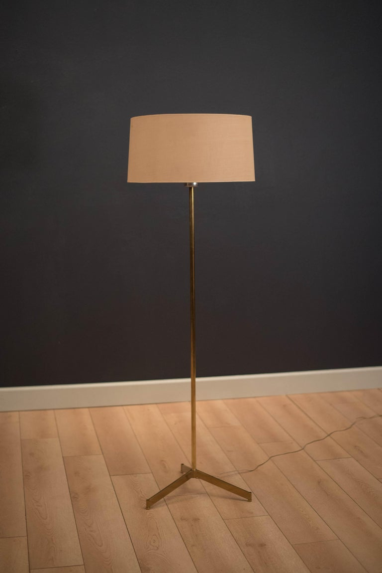 American Mid Century Tripod Brass Floor Lamp