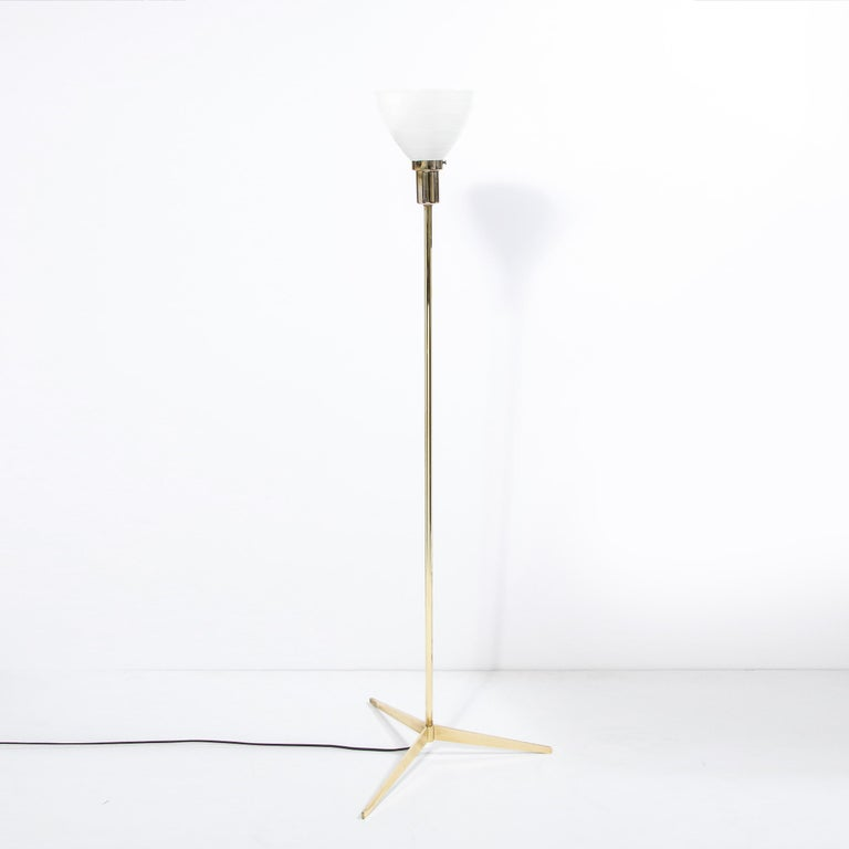Mid Century Tripod Brass Floor Lamp w/ Textured White Glass Shade by Paul McCobb For Sale 4