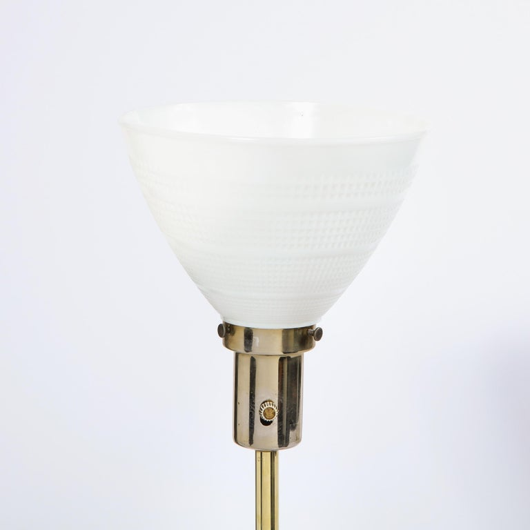 American Mid Century Tripod Brass Floor Lamp w/ Textured White Glass Shade by Paul McCobb For Sale