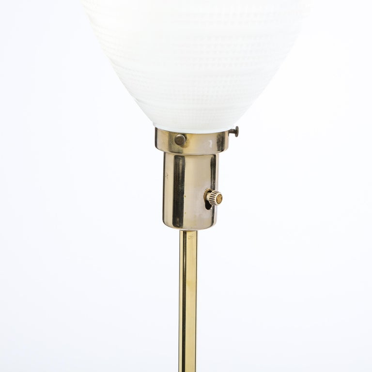 Mid Century Tripod Brass Floor Lamp w/ Textured White Glass Shade by Paul McCobb For Sale 2