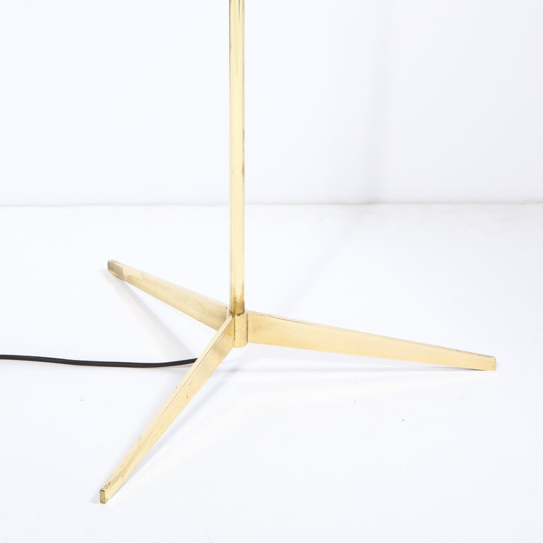 Mid Century Tripod Brass Floor Lamp w/ Textured White Glass Shade by Paul McCobb For Sale 3