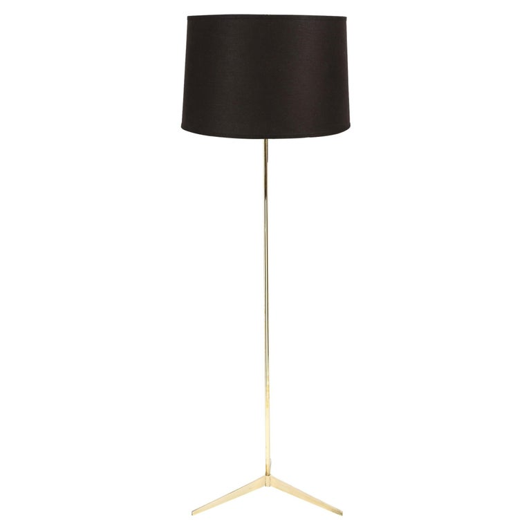 Mid Century Tripod Brass Floor Lamp w/ Textured White Glass Shade by Paul McCobb For Sale