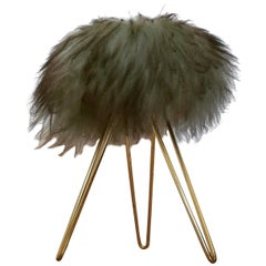 Midcentury Tripod Tabouret or Stool Hair, France, 1970s