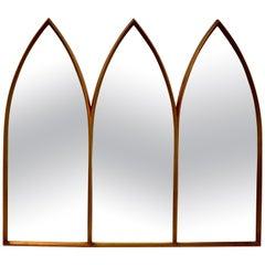 Midcentury Triptych Gilt Mirror