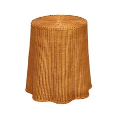 Midcentury Trompe L'oiel Drape Wicker Table, circa 1960s