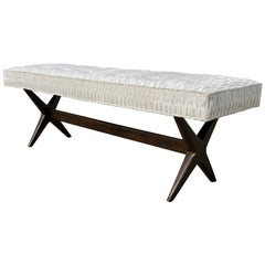 Midcentury Tufted X Bench