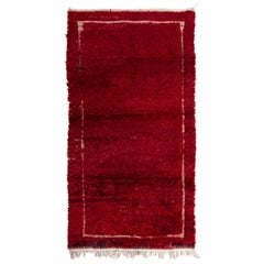 Midcentury Tulu Rug with Plain Solid Red and Ivory Frame Design
