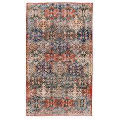Mid-Century Turkish Art Deco Handmade Multicolor Floral Wool Rug