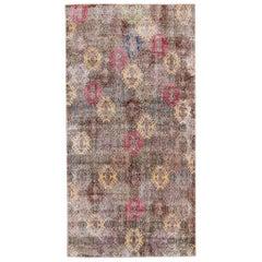 Mid-Century Turkish Art Deco Handmade Multicolor Geometric Wool Rug
