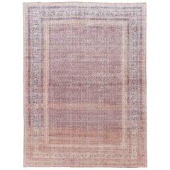 Mid-Century Turkish Art Deco Handmade Pink Floral Wool Rug
