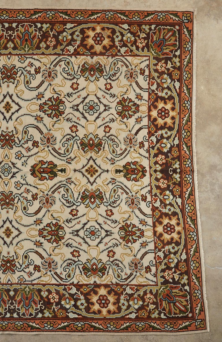 Arts and Crafts Midcentury Turkish Floral Thracian Kilim For Sale