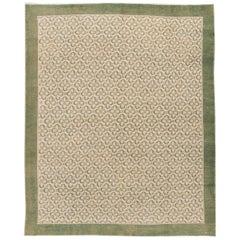 Mid-Century Turkish Handmade Beige and Green Floral Wool Rug