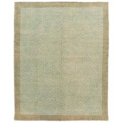 Mid-Century Turkish Handmade Green Geometric Wool Rug