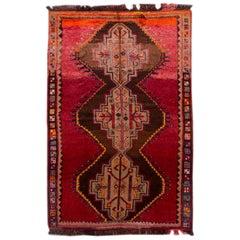 Mid-Century Turkish Handmade Red Tribal Wool Rug