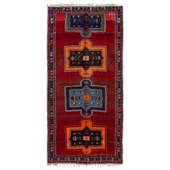 Vintage Turkish Handmade Red Tribal Wool Runner