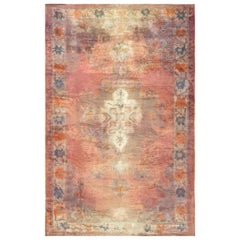 Midcentury Turkish Oushak Pink and Blue Handwoven Wool Rug