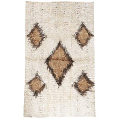 Midcentury Turkish Tulu Tribal Rug in White, Dark Brown, and Light Brown
