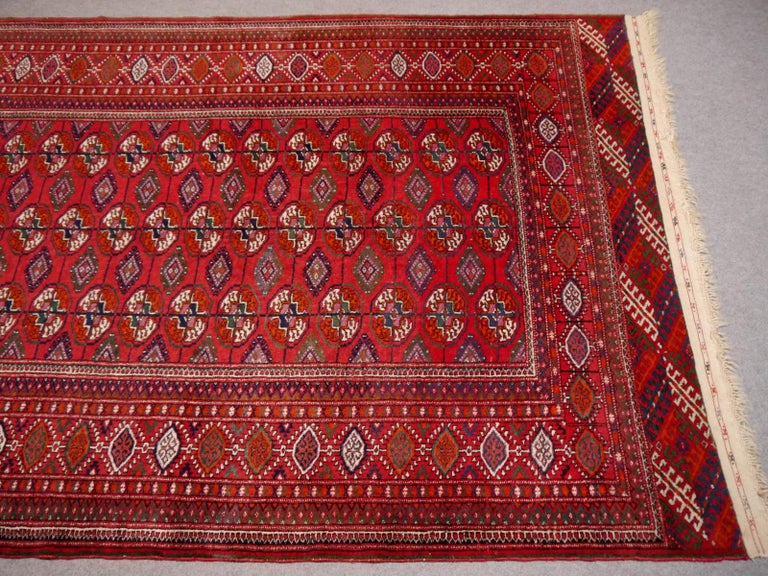 Fine hand knotted Russian Turkmen Bokhara rug or Turkmen rug Midcentury