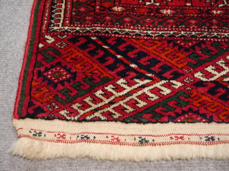 Hand-Knotted Midcentury Turkman Bokhara Tekke Tribal Rug For Sale