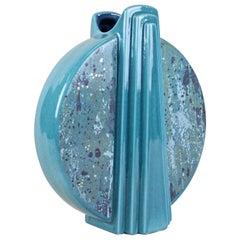 Midcentury Turquoise Ceramic Vase Glazed, Germany, circa 1950