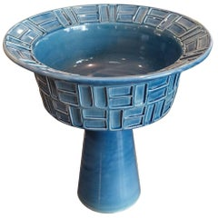 Midcentury Turquoise Footed Bowl, Italy