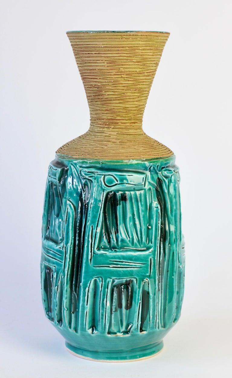 Midcentury Turquoise Italian Ceramic Vase by Fratelli Fanciullacci, circa 1960 For Sale 4