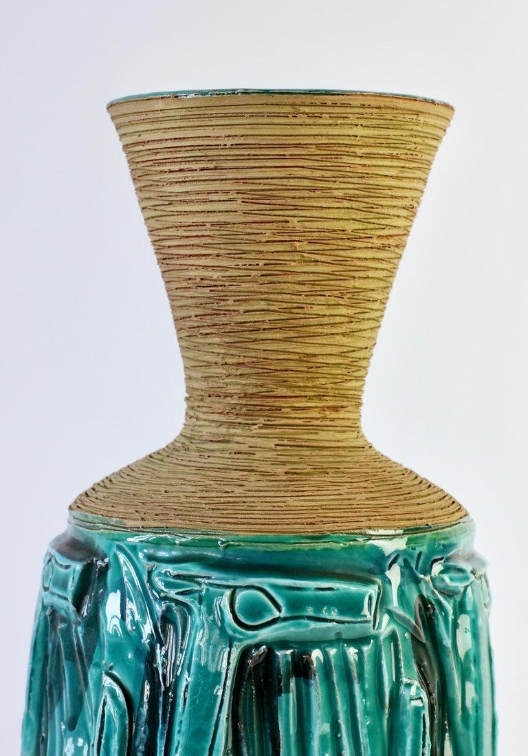 Midcentury Turquoise Italian Ceramic Vase by Fratelli Fanciullacci, circa 1960 For Sale 5