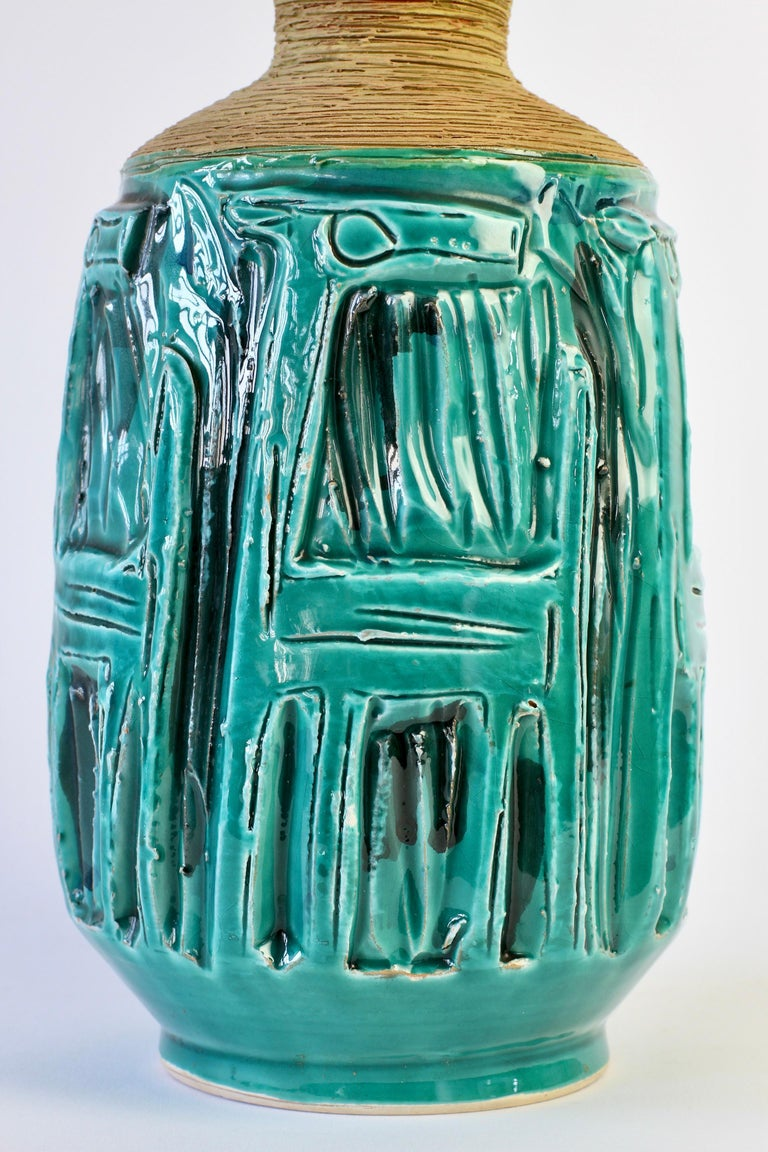 Midcentury Turquoise Italian Ceramic Vase by Fratelli Fanciullacci, circa 1960 For Sale 6