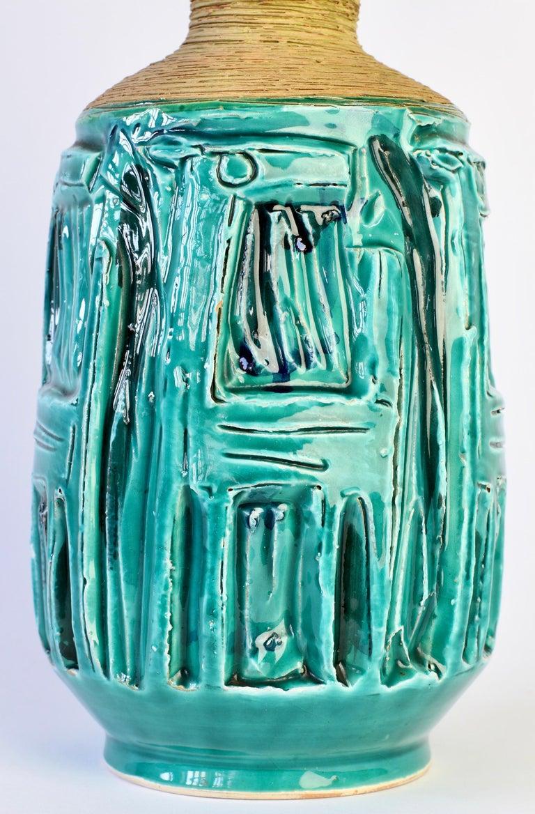 Midcentury Turquoise Italian Ceramic Vase by Fratelli Fanciullacci, circa 1960 For Sale 7