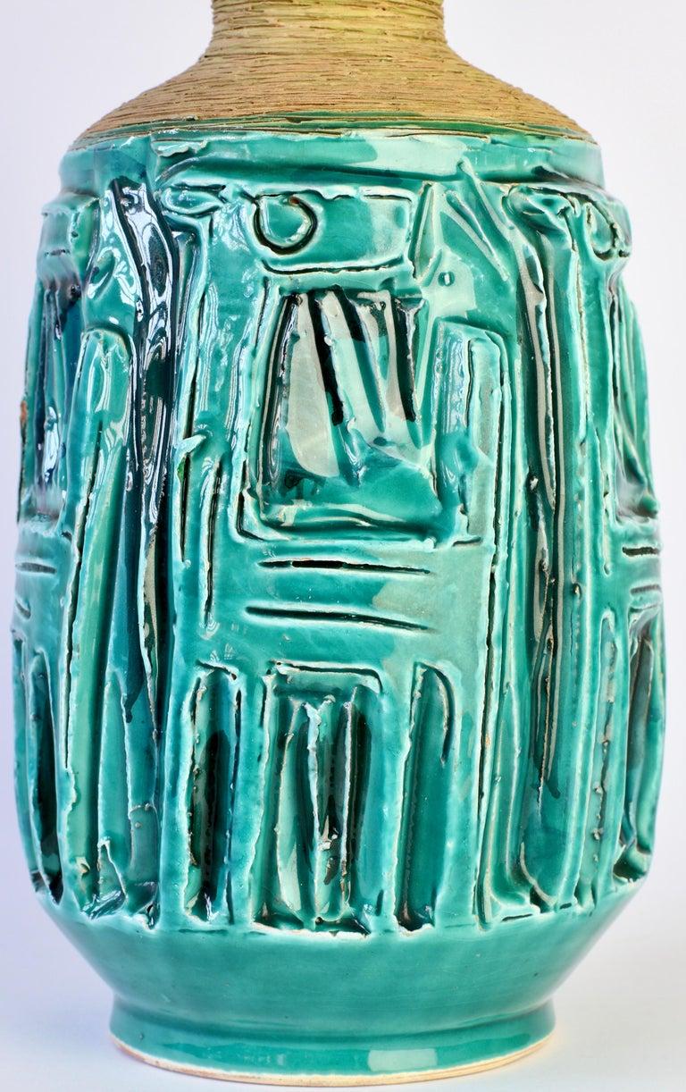 Midcentury Turquoise Italian Ceramic Vase by Fratelli Fanciullacci, circa 1960 For Sale 8