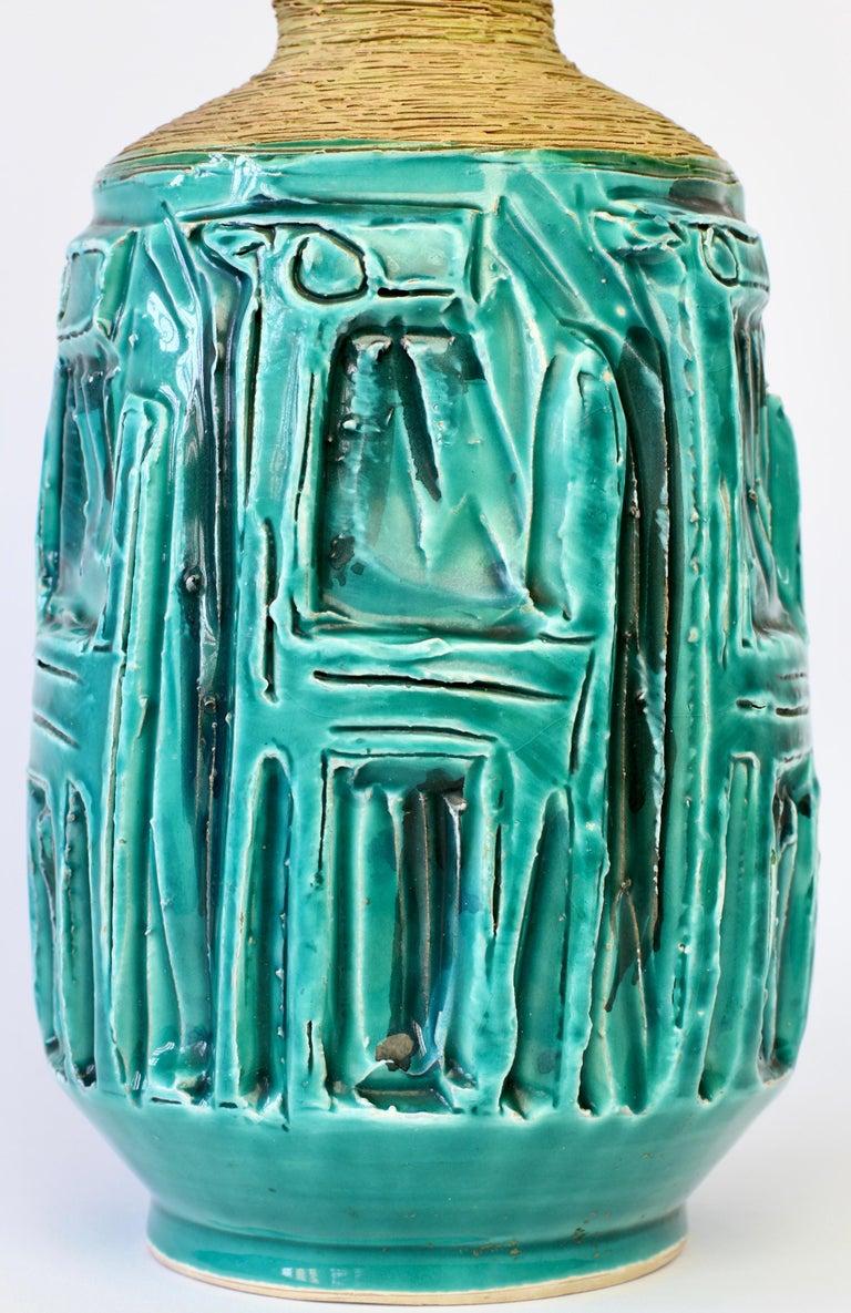 Midcentury Turquoise Italian Ceramic Vase by Fratelli Fanciullacci, circa 1960 For Sale 9