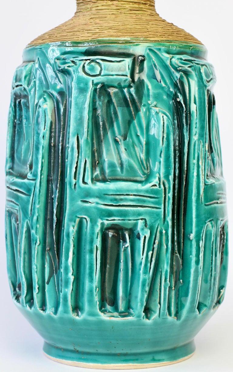 Midcentury Turquoise Italian Ceramic Vase by Fratelli Fanciullacci, circa 1960 For Sale 10