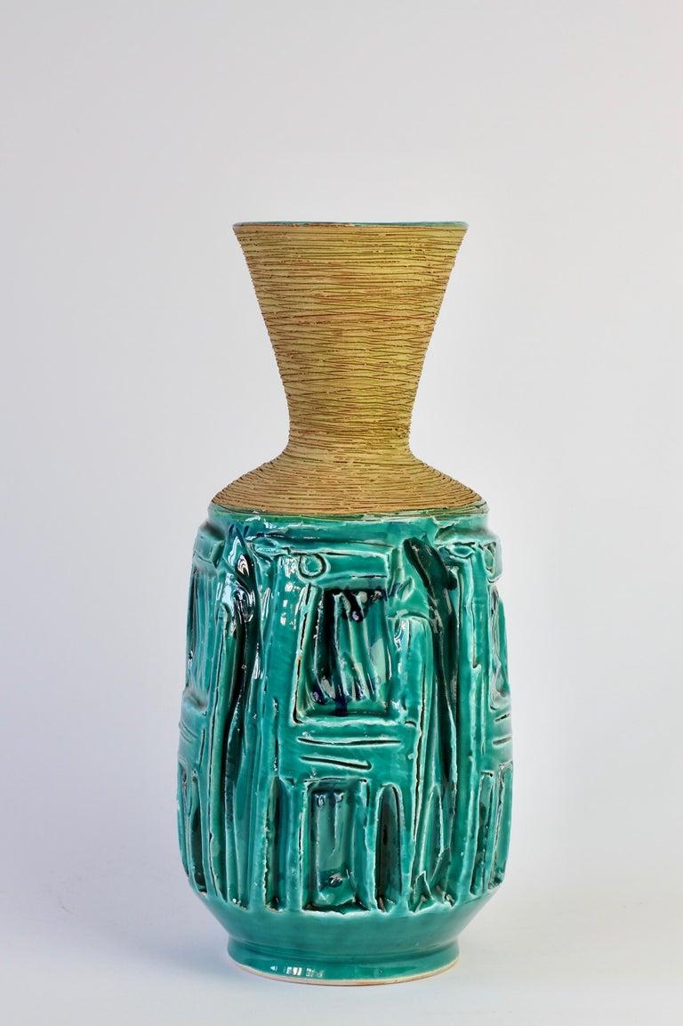 Mid-Century Modern Midcentury Turquoise Italian Ceramic Vase by Fratelli Fanciullacci, circa 1960 For Sale