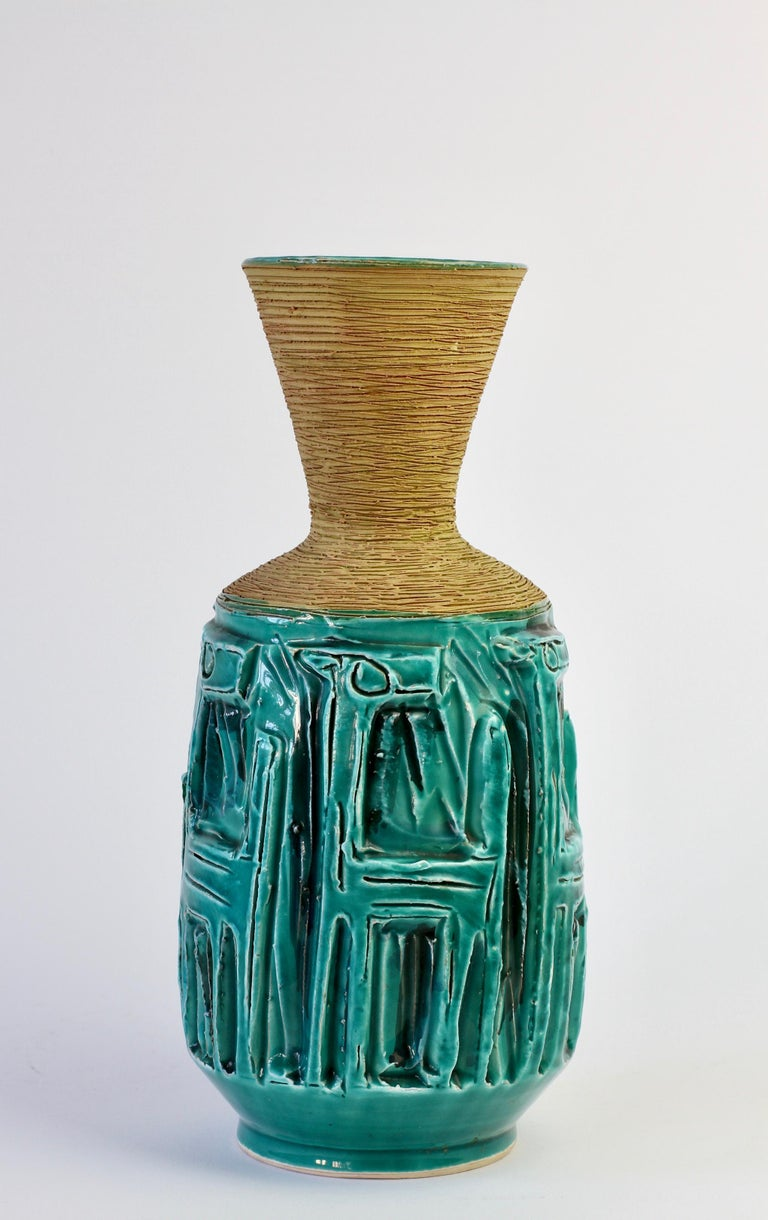 Midcentury Turquoise Italian Ceramic Vase by Fratelli Fanciullacci, circa 1960 In Good Condition For Sale In Landau an der Isar, Bayern