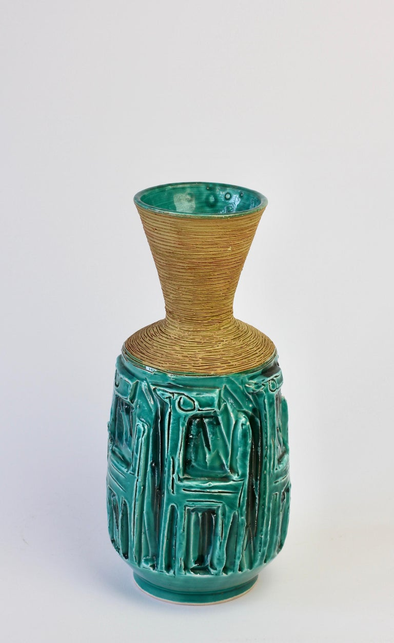 20th Century Midcentury Turquoise Italian Ceramic Vase by Fratelli Fanciullacci, circa 1960 For Sale