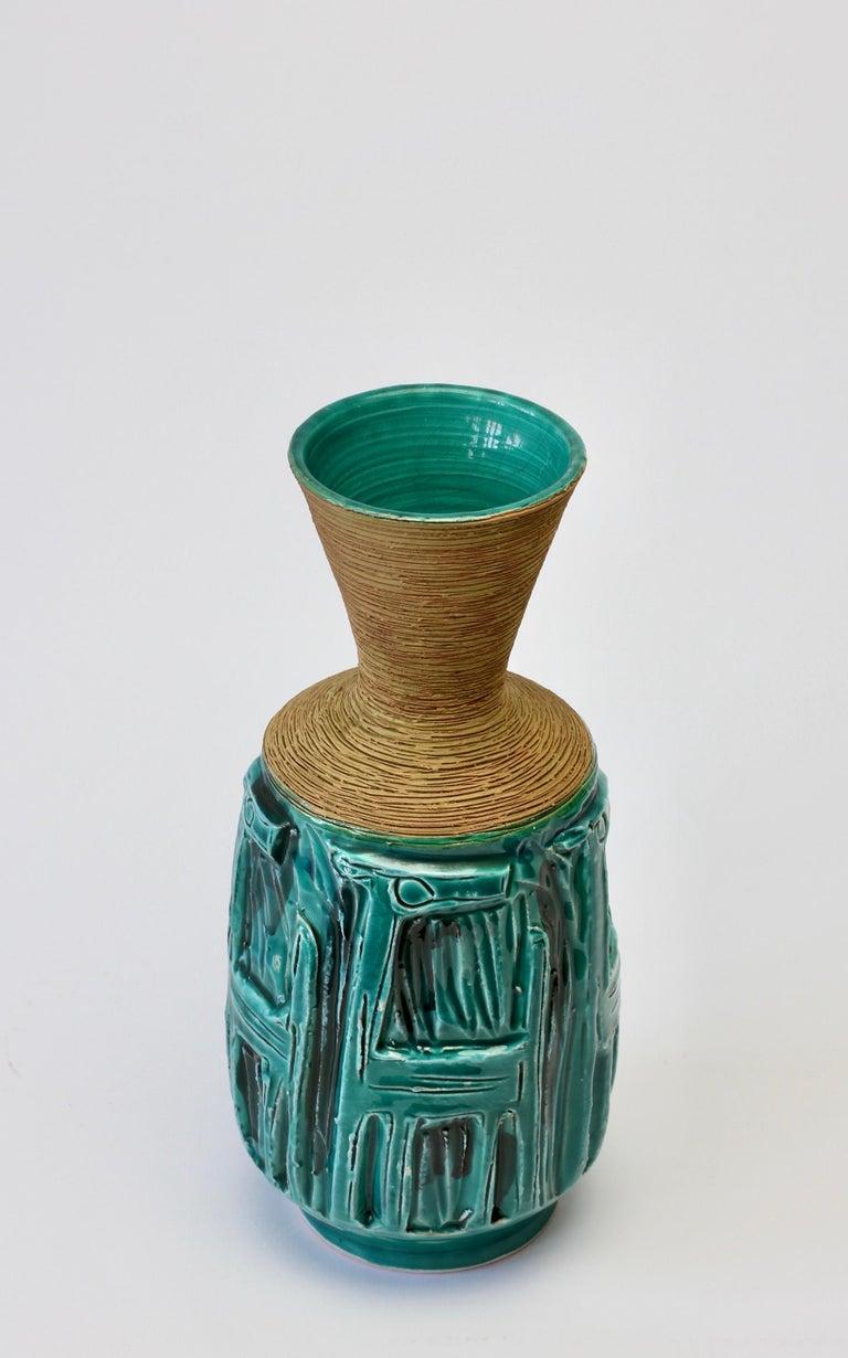 Midcentury Turquoise Italian Ceramic Vase by Fratelli Fanciullacci, circa 1960 For Sale 1