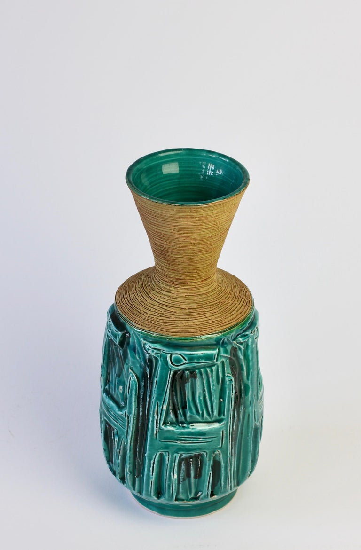 Midcentury Turquoise Italian Ceramic Vase by Fratelli Fanciullacci, circa 1960 For Sale 2