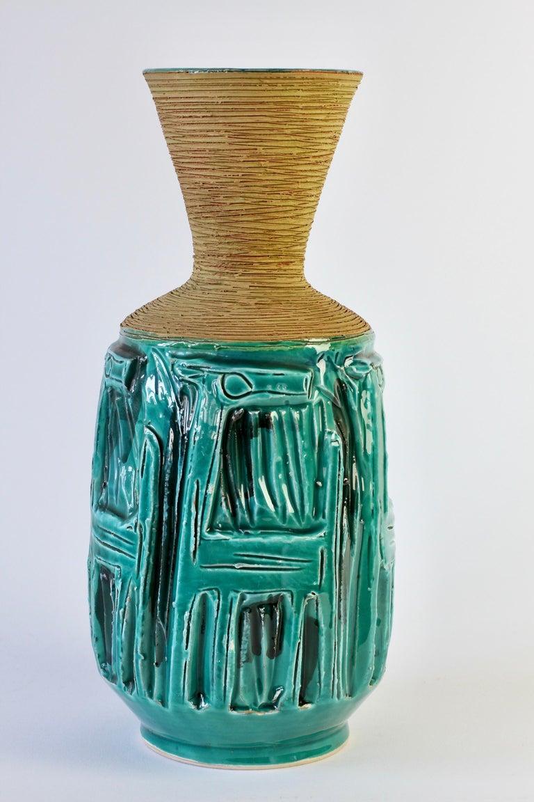 Midcentury Turquoise Italian Ceramic Vase by Fratelli Fanciullacci, circa 1960 For Sale 3