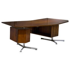 Mid-Century Two Moduled Italian Mahogany Desk, Italy, 1950