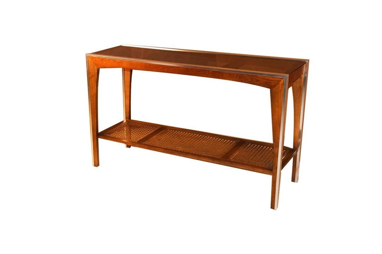 Mid-Century Modern Midcentury Two-Tier Glass Cane Console Sofa Table For Sale