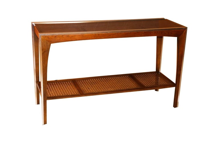 Midcentury Two-Tier Glass Cane Console Sofa Table For Sale 1