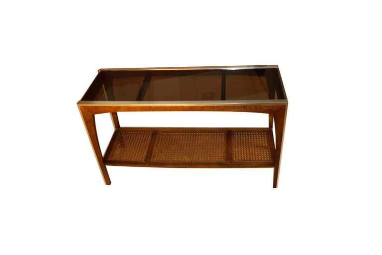 Midcentury Two-Tier Glass Cane Console Sofa Table For Sale 2
