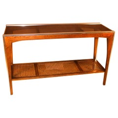 Midcentury Two-Tier Glass Cane Console Sofa Table