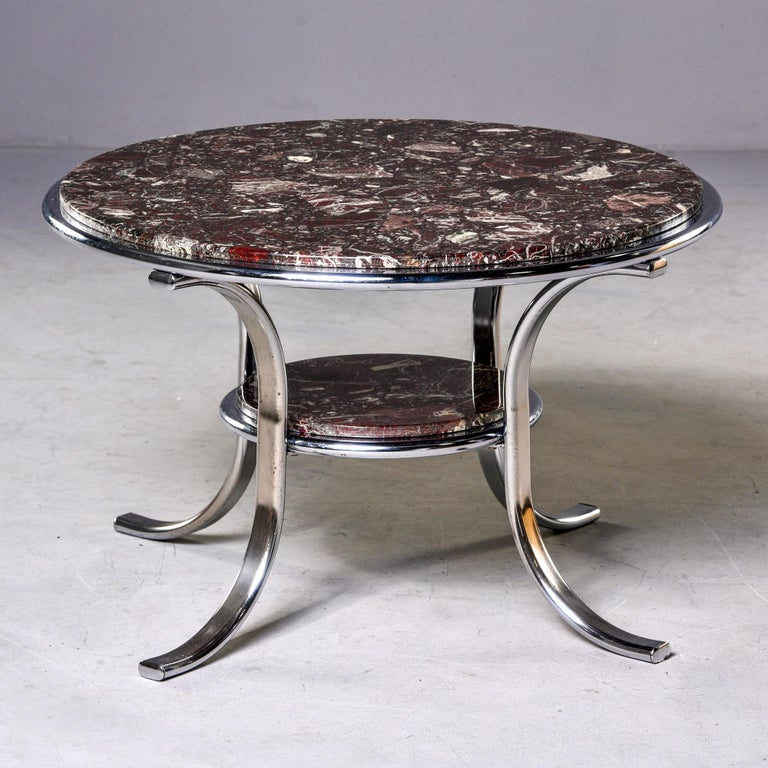 Mid-Century Modern Midcentury Two-Tier Polished Nickel and Marble Cocktail Table For Sale