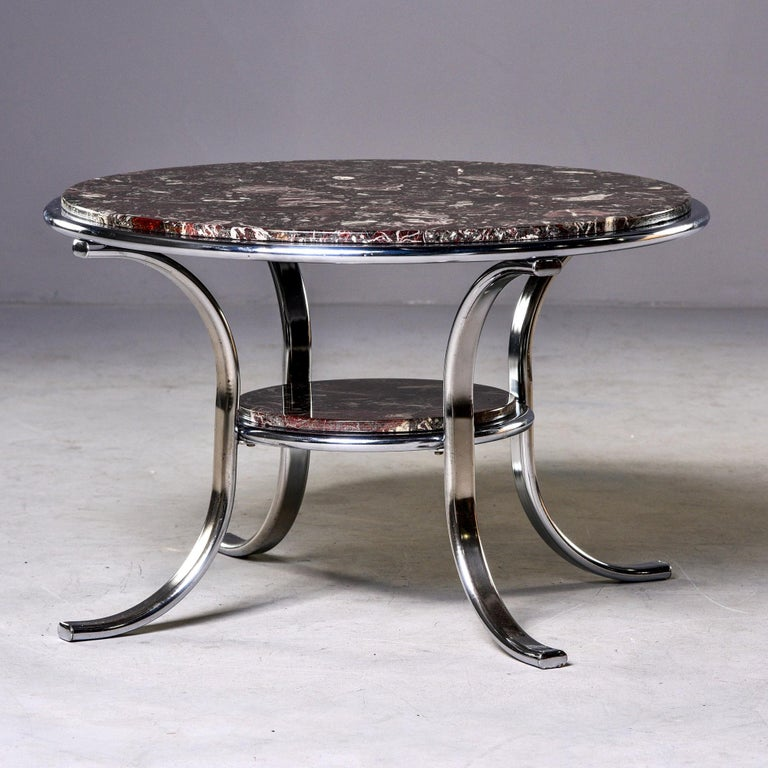 European Midcentury Two-Tier Polished Nickel and Marble Cocktail Table For Sale