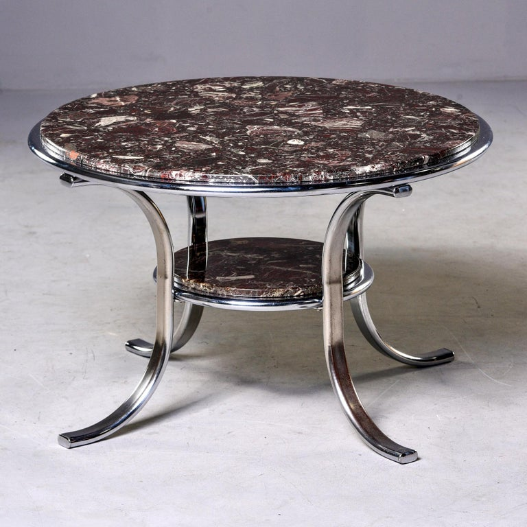 Midcentury Two-Tier Polished Nickel and Marble Cocktail Table In Good Condition For Sale In Troy, MI