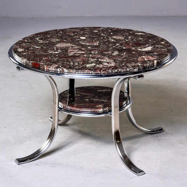 20th Century Midcentury Two-Tier Polished Nickel and Marble Cocktail Table For Sale
