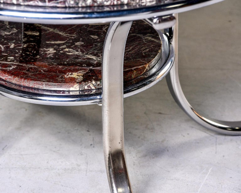 Midcentury Two-Tier Polished Nickel and Marble Cocktail Table For Sale 1